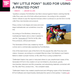 Size: 807x839 | Tagged: apple bloom, article, artist:miketheuser, cutie mark crusaders, font, font issues, generationb, generation b, hasbro, meta, news, piracy, pirate, safe, scootaloo, sweetie belle, text, torrentfreak, website