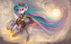 Size: 1920x1200 | Tagged: safe, artist:rain-gear, princess celestia, alicorn, pony, armor, cloud, crown, cutie mark, female, flying, horseshoes, jewelry, lidded eyes, mare, princess shoes, raised hoof, regalia, royalty, smiling, solo, sparkles, spread wings, tiara, wallpaper, warrior, warrior celestia, wings
