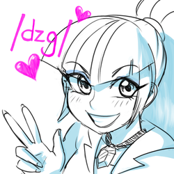 Size: 748x748 | Tagged: safe, artist:rileyav, sonata dusk, equestria girls, /dzg/, /mlp/, blushing, clothes, female, heart, monochrome, peace sign, ponytail, simple background, sketch, solo, white background