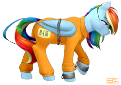 Size: 3411x2382 | Tagged: safe, artist:8bitamy, rainbow dash, bound wings, chains, clothes, crying, cuffs, female, prison outfit, prisoner, prisoner rd, sad, shackles, simple background, solo, transparent background