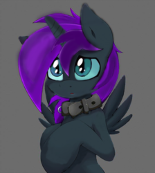 Size: 600x669 | Tagged: alicorn, alicorn oc, artist:adamirvine, artist:grumblepluck, collar, dead source, edit, oc, oc:nyx, oc only, pony, pony pet, safe, simple background, solo