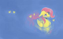 Size: 1920x1200 | Tagged: safe, artist:rain-gear, fluttershy, duck pony, :p, behaving like a duck, cute, duckling, floppy ears, flutterduck, shyabetes, smiling, solo, tongue out, wallpaper, water