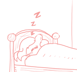 Size: 640x600 | Tagged: safe, artist:ficficponyfic, oc, oc only, oc:emerald jewel, colt quest, bed, bedroom, blanket, child, colt, cute, eyes closed, foal, male, monochrome, sleeping, solo, zzz