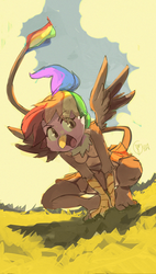 Size: 752x1326 | Tagged: anthro, anthro oc, artist:edtropolis, clothes, cloud, cloudy, crouching, cute, female, furry, griffon, interspecies offspring, landing, magical lesbian spawn, oc, oc only, oc:rainbow feather, offspring, open mouth, parent:gilda, parent:rainbow dash, parents:gildash, safe, signature, skirt, smiling, solo, spread wings, tanktop, wings