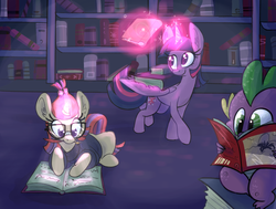 Size: 1175x887   Tagged: safe, artist:ponygoggles, moondancer, spike, twilight sparkle, alicorn, dragon, pony, unicorn, baby, baby dragon, book, bookhorse, bookshelf, clothes, comic book, cute, dancerbetes, female, glasses, glowing horn, levitation, library, magic, male, mare, prone, reading, smiling, spikabetes, sweater, telekinesis, twiabetes, twilight sparkle (alicorn)