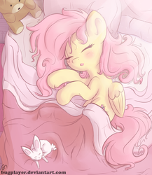 Size: 2000x2300 | Tagged: safe, artist:bugplayer, angel bunny, fluttershy, pegasus, pony, bed, blanket, blushing, bugplayer is trying to murder us, cute, eyes closed, female, folded wings, mare, messy bed, messy mane, open mouth, pillow, shyabetes, sleeping, smiling, solo, sunlight, teddy bear
