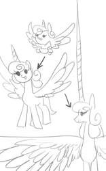 Size: 546x875   Tagged: artist needed, source needed, safe, princess flurry heart, spoiler:s06, impossibly large horn, impossibly large wings, monochrome, older, spread wings, wat
