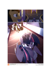 Size: 3541x5016 | Tagged: safe, artist:gashiboka, doctor whooves, fluttershy, rarity, roseluck, time turner, twilight sparkle, oc, oc:flora, alicorn, pony, comic:recall the time of no return, comic, female, mare, patreon, patreon logo, twilight sparkle (alicorn)