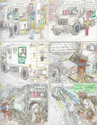 Size: 1190x1530 | Tagged: safe, artist:meiyeezhu, shining armor, oc, oc:notorious georgie, oc:passpartout, oc:sly bandit, human, ambush, armored truck, bandit, bank robbery, claws, comic, cowgirl, crime, criminal, criminal scum, driving, epic fail, fail, guard, gun, hilarious, horned humanization, humanized, humanized oc, humanized ponified human, karma, levitation, lloyds bank, logo, magic, metal claws, money, money bag, old master q, parody, punishment, revolver, road, robbery, running, security guard, security officer, shotgun, surprised, technical, technology, telekinesis, tentacles, traditional art, trapped, truck, turret, unexpected, urban, weapon
