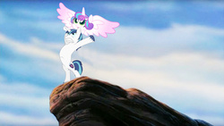 "Size: 960x543 | Tagged: safe, princess flurry heart, shining armor, changeling, the crystalling, ""responsible father"" armor, epic daughter tossing, fastball special, pride rock, the lion king"