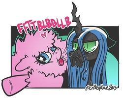 Size: 700x558 | Tagged: safe, artist:crikeydave, queen chrysalis, oc, oc:fluffle puff, changeling, pony, :<, derp, duo, frown, heart, onomatopoeia, pfft, raspberry, raspberry noise, spit, unamused