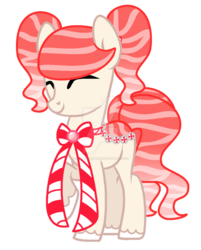 Size: 900x1122 | Tagged: safe, artist:cherri-crimzon, oc, oc only, original species, pond pony, candy, candy cane, eyes closed, food, solo, watermark