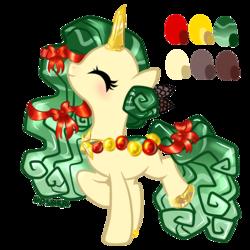 Size: 2000x2000 | Tagged: safe, artist:vpshka, oc, oc only, original species, pond pony, unicorn, blushing, christmas tree, eyes closed, ornament, solo