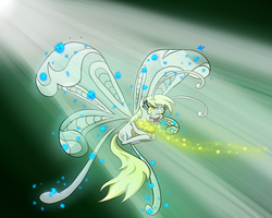 Size: 1500x1200 | Tagged: safe, artist:m_d_quill, derpy hooves, breezie, breeziefied, cute, derpabetes, diabreezies, pollen, solo, species swap