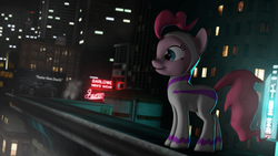 Size: 3840x2160 | Tagged: safe, artist:sindroom, fili-second, pinkie pie, 3d, building, clothes, cosplay, costume, female, misspelling, night, poster, signs, solo, source filmmaker