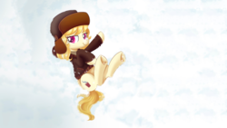 Size: 2560x1440   Tagged: safe, artist:imoshie, edit, march gustysnows, princess spike (episode), clothes, coat, hat, heart, heart eyes, snow, solo, underhoof, ushanka, wallpaper, wallpaper edit, wingding eyes