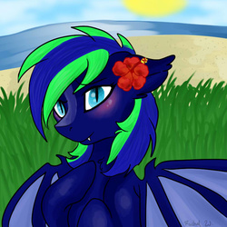 Size: 700x700 | Tagged: safe, artist:p0n1es, oc, oc only, oc:silver fang, bat pony, pony, beach, blushing, cute, fangs, femboy, floppy ears, flower, flower in hair, fluffy, girly, grass, hibiscus, lidded eyes, looking at you, male, smiling, solo, spread wings, story in the comments, sun, trap