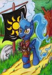 Size: 1636x2336 | Tagged: safe, artist:piterq12, princess luna, alternate hairstyle, armor, crossover, female, nilfgaard, ponytail, scar, solo, sword, the witcher, traditional art, weapon