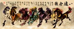 Size: 1280x511   Tagged: safe, artist:ciyunhe, applejack, fluttershy, pinkie pie, rainbow dash, rarity, starlight glimmer, sunset shimmer, twilight sparkle, horse, pony, chinese, classic art, eight running horses, fine art parody, mane six