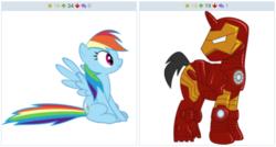 Size: 1244x668 | Tagged: safe, screencap, rainbow dash, derpibooru, image macro, iron man, juxtaposition, meme, meta