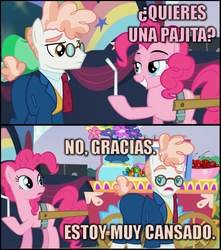 Size: 647x732 | Tagged: safe, edit, screencap, fernando the straw, pinkie pie, svengallop, the mane attraction, drinking straw, image macro, implied masturbation, innuendo, meme, pink text, pun, spanish, translated in the comments
