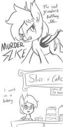 Size: 792x1584 | Tagged: safe, artist:tjpones, oc, oc only, oc:murder slice, bat pony, pony, bait and switch, bakery, black and white, cake, comic, cupcake, cute, derp, dialogue, ear fluff, edgy, food, frown, glare, grayscale, grimcute, grimderp, gritted teeth, irony, knife, looking at you, monochrome, open mouth, smiling, solo