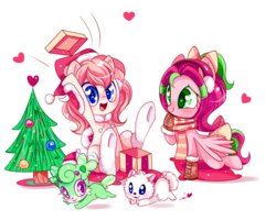 Size: 1024x819 | Tagged: safe, artist:ipun, oc, oc only, oc:cream, oc:gadget, oc:pompom merengue, oc:precious metal, earth pony, pegasus, pony, blushing, chibi, christmas tree, clothes, female, hat, heart, heart eyes, mare, open mouth, present, santa hat, scarf, simple background, smiling, tree, white background, wingding eyes