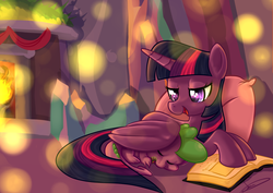 Size: 3507x2480 | Tagged: alicorn, artist:styber, book, chimney, cozy, crystal castle, cute, digital art, dragon, female, fire, fireplace, folded wings, hearth's warming eve, hug, lights, male, mama twilight, mare, pillow, pony, ribbon, safe, spikabetes, spike, spikelove, twiabetes, twilight's castle, twilight sparkle, twilight sparkle (alicorn), winghug, wings