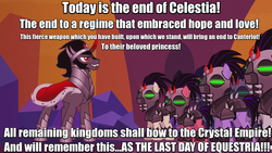 Size: 1280x720 | Tagged: safe, edit, edited screencap, screencap, king sombra, crystal pony, pony, the cutie re-mark, alternate timeline, caption, crystal empire, crystal war timeline, general hux, image macro, implied princess celestia, meme, mind control, sombra soldier, speech, spoilers for another series, star wars, star wars: the force awakens