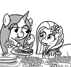 Size: 640x600 | Tagged: artist:ficficponyfic, banquet, cake, carnivore, chicken, chicken leg, chocolate, clothes, colt, colt quest, crossdressing, cyoa, dress, eating, explicit source, eyeshadow, female, femboy, flower, flower in hair, foal, food, frosting, mage, makeup, male, mare, meat, oc, oc:emerald jewel, oc:joyride, oc only, party, pimp, ponies eating meat, pony, safe, sandwich, story included, strawberry, table, trap, unicorn