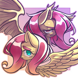 Size: 3000x3000   Tagged: safe, artist:kaikoinu, fluttershy, bat pony, pony, abstract background, bust, duality, flutterbat, hair over one eye, portrait, spread wings, wings