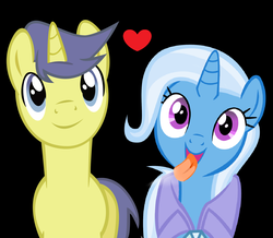 Size: 1852x1616 | Tagged: safe, artist:themexicanpunisher, comet tail, trixie, pony, unicorn, cometrix, couple, female, male, mare, shipping, straight