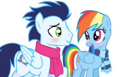 Size: 1024x635 | Tagged: safe, artist:sofialurax, rainbow dash, soarin', pony, backwards cutie mark, clothes, female, male, scarf, shipping, simple background, soarindash, sofialurax is trying to murder us, straight, transparent background