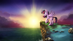 Size: 2258x1270 | Tagged: safe, artist:blackligerth, twilight sparkle, alicorn, pony, cliff, crepuscular rays, female, mare, ocean, rearing, solo, spread wings, sunset, twilight (astronomy), twilight sparkle (alicorn)