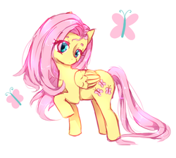 Size: 879x788 | Tagged: safe, artist:shiroegi, fluttershy, butterfly, pegasus, pony, eye clipping through hair, folded wings, head tilt, head turn, raised hoof, simple background, solo, standing, stray strand, white background