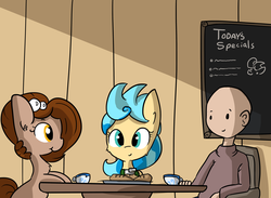 Size: 4500x3300 | Tagged: safe, artist:tjpones, oc, oc only, oc:brownie bun, oc:richard, earth pony, human, pony, horse wife, cafe, cheek fluff, chest fluff, ear fluff, female, food, human male, male, mare, menu, patreon, patreon reward, sitting, tea