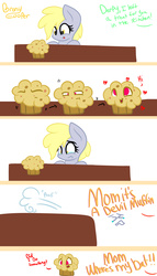 Size: 4000x7000 | Tagged: safe, artist:lynchristina, derpy hooves, :p, :t, comic, crying, cute, eyes on the prize, filly, filly derpy, food, frown, heart, muffin, open mouth, sad, smiling, tongue out, wide eyes, worried