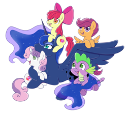 Size: 1500x1332   Tagged: safe, artist:raininess, apple bloom, princess luna, scootaloo, spike, sweetie belle, alicorn, dragon, earth pony, pegasus, pony, unicorn, adorabloom, baby, baby dragon, cute, cutealoo, cutie mark, cutie mark crusaders, diasweetes, female, filly, looking up, lunabetes, male, new year, simple background, spikabetes, the cmc's cutie marks, transparent background