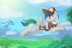 Size: 3000x2000 | Tagged: safe, artist:lumineko, oc, oc only, oc:lazuli, oc:right away, bird, blue jay, pegasus, pony, clothes, cloud, commission, flying, hat, looking back, mail, mailbag, mailpony, male, mountain, pet, pet oc, river, sky, spread wings, stallion, tree, uniform, wings