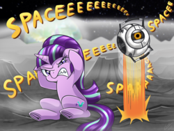 Size: 2000x1500 | Tagged: safe, artist:vavacung, starlight glimmer, annoyed, covering ears, equestria, floppy ears, gritted teeth, jumping, moon, personality core, planet, portal, portal (valve), portal 2, s5 starlight, sitting, space, space core, to the moon, underhoof