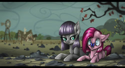 Size: 3317x1808   Tagged: safe, artist:amberswirl, maud pie, pinkie pie, butterfly, female, filly, filly pinkie pie, insect on nose, pinkamena diane pie, prone, rock farm, sisters, smiling, when she smiles, younger