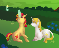 Size: 1024x830 | Tagged: safe, artist:coulorstrike, prince blueblood, sunset shimmer, pony, backwards cutie mark, crack shipping, female, flower, garden, glowing horn, magic, male, prince blueblood gets all the mares, shipping, straight, sunblood, telekinesis, younger