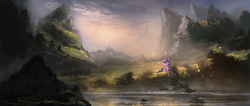 Size: 2350x1000 | Tagged: dead source, safe, artist:shamanguli, twilight sparkle, alicorn, pony, female, mountain, river, scenery, scenery porn, solo, twilight sparkle (alicorn)