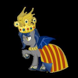 Size: 2000x2000 | Tagged: safe, artist:yinglongfujun, oc, oc only, oc:moorish delight, bat pony, pony, aragon, cape, clothes, crown, jewelry, monarch, regalia, smirk, solo, spain