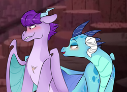 Size: 1024x737 | Tagged: safe, artist:howlingatthemoon654, princess ember, prominence, dragon, bedroom eyes, blushing, cute, emberence, female, hug, lesbian, lip bite, promibetes, scar, shipping, winghug