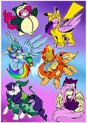 Size: 3508x4961 | Tagged: safe, artist:mimy92sonadow, applejack, fluttershy, pinkie pie, rainbow dash, rarity, twilight sparkle, alicorn, bulbasaur, charmander, gengar, pikachu, pony, snorlax, squirtle, absurd resolution, clothes, costume, crossover, mane six, nintendo, pokémon, raised hoof, twilight sparkle (alicorn)