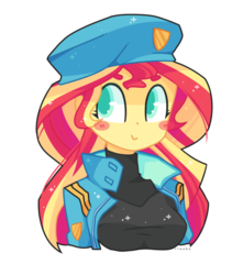 Size: 800x905 | Tagged: safe, artist:riouku, sunset shimmer, equestria girls, blush sticker, blushing, breasts, clothes, commission, cute, female, katsuragi misato, lieutenant, neon genesis evangelion, shimmerbetes, simple background, smiling, solo, transparent background, ych result