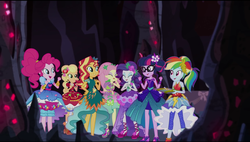 Size: 1680x953 | Tagged: safe, screencap, applejack, fluttershy, pinkie pie, rainbow dash, rarity, sci-twi, spike, spike the regular dog, sunset shimmer, twilight sparkle, dog, equestria girls, legend of everfree, alternate hairstyle, clothes, crystal gala, dress, gala dress, high heels, humane seven, mane seven, mane six, pizza box