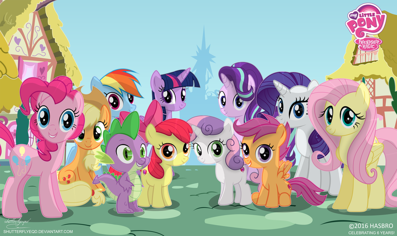 Size: 3328x1974 | Tagged: anniversary, apple bloom, applejack, artist:shutterflyeqd, cutie mark crusaders, fluttershy, happy birthday mlp:fim, looking at you, mane seven, mane six, my little pony logo, pinkie pie, ponyville, princess twilight, rainbow dash, rarity, safe, scootaloo, spike, starlight glimmer, sweetie belle, the cmc's cutie marks, twilight's castle, twilight sparkle