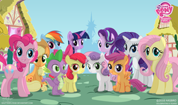 Size: 3328x1974 | Tagged: safe, artist:shutterflyeqd, apple bloom, applejack, fluttershy, pinkie pie, rainbow dash, rarity, scootaloo, spike, starlight glimmer, sweetie belle, twilight sparkle, alicorn, pony, anniversary, cutie mark crusaders, female, filly, happy birthday mlp:fim, looking at you, mane seven, mane six, mlp fim's sixth anniversary, my little pony logo, ponyville, the cmc's cutie marks, twilight sparkle (alicorn), twilight's castle